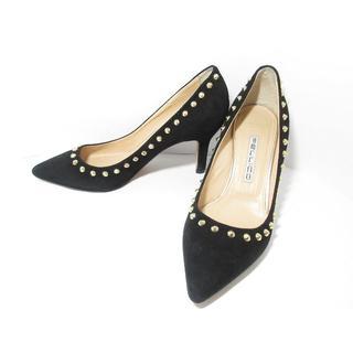 ペリーコ(PELLICO)の美品PELLICOスタッズ黒アンドレア80パンプス35シューズ靴(ハイヒール/パンプス)