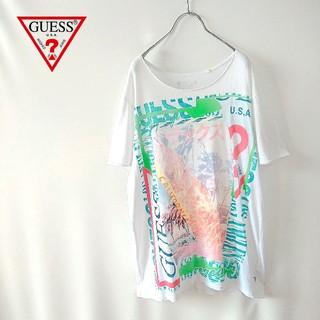 ゲス(GUESS)のGUESS ゲス ビーチロゴ グラフィック オーバーサイズ Tシャツ(Tシャツ(半袖/袖なし))