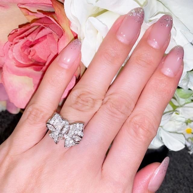 PonteVecchio(ポンテヴェキオ)のK18WG リボンダイヤモンドリング 0.75ct パヴェ 12号 美品 レディースのアクセサリー(リング(指輪))の商品写真