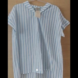 サマンサモスモス(SM2)のSM2 半袖ブラウス ストライプチュニック 新品未使用(シャツ/ブラウス(半袖/袖なし))