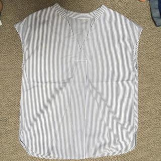 ジーユー(GU)のブルー ストライプ シャツ(シャツ/ブラウス(半袖/袖なし))