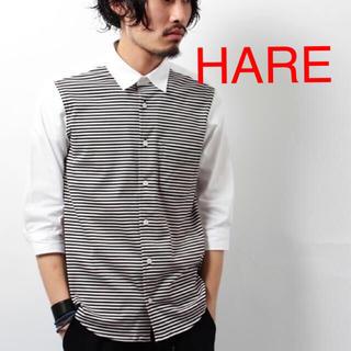 ハレ(HARE)のHARE フロントボーダーシャツ七分袖(シャツ)