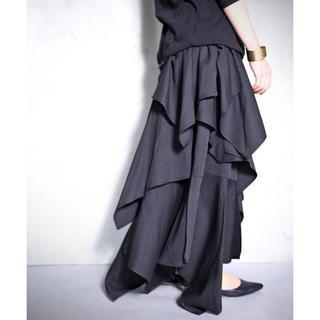 アンティカ(antiqua)の【antiqua】ティアード デザイン スカート ブラック 【アンティカ】(ロングスカート)