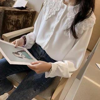 dholic - シフォンシャツ レース付きブラウス カジュアルシャツ ホワイト