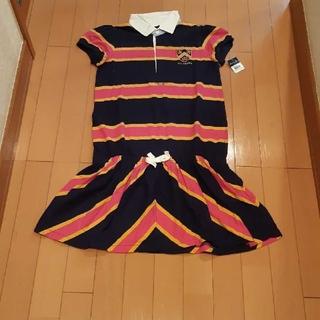 ラルフローレン(Ralph Lauren)の新品未使用タグ付きラルフローレン紺×ピンク半袖ポロシャツワンピース160サイズ(ひざ丈ワンピース)