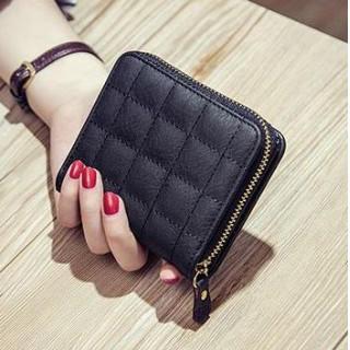 シンプル ファスナー 二つ折り 財布 ブラック 格子柄(財布)
