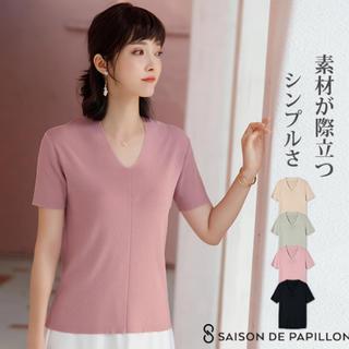 レディース 半袖 カットソー サマーニット Sサイズ ピンク(カットソー(半袖/袖なし))