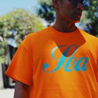 ロンハーマン(Ron Herman)のWIND AND SEA GLITTER ラメプリント Tシャツ M オレンジ(Tシャツ/カットソー(半袖/袖なし))