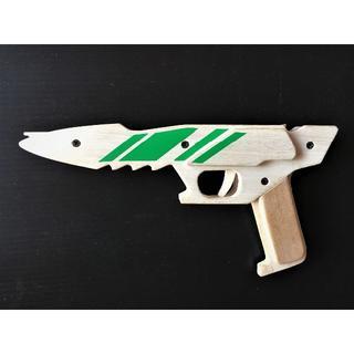 【手作り】木製 6連発 近未来型ゴム銃 JJ-12  グリーン(その他)