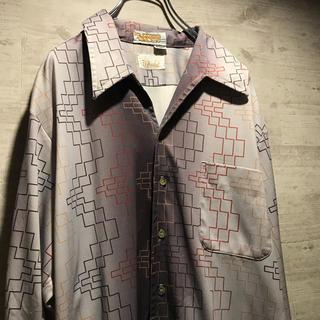 ART VINTAGE - 80s USA製 幾何学 シャツ vintage 古着 総柄 アート 開衿シャツ