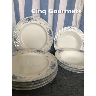 Cinq Gourmets ブルー花柄 皿 セット