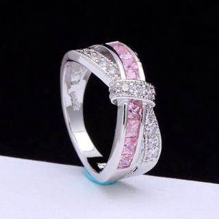 AAAランク ピンクトルマリン ダイヤモンドcz 18号 リング 指輪(リング(指輪))