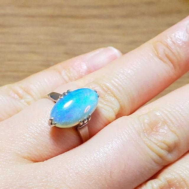 K14WG  鑑定・仕上げ済み クリスタルオパール    リング レディースのアクセサリー(リング(指輪))の商品写真