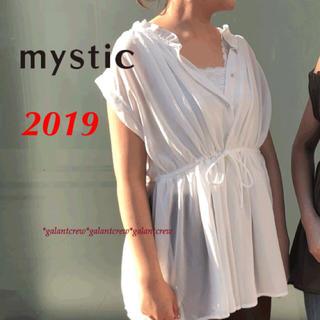 mystic - 新品ミスティック★ノースリ-ブボリュームギャザーブラウス★白