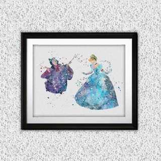 Disney - シンデレラ&フェアリーゴッドマザー・アートポスター【額縁付き・送料無料!】