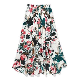 GRL - GRL ベルト付き大花柄イレヘムスカート