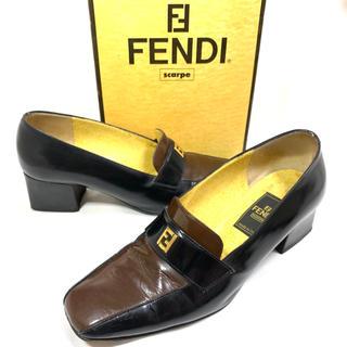 フェンディ(FENDI)のFENDI 約22cm レザーパンプス ロゴ金具 ブラウン ブラック フェンディ(ハイヒール/パンプス)
