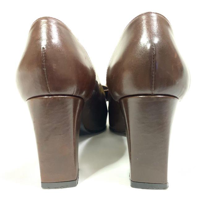 FENDI(フェンディ)のFENDI 約22cm 35.5 リボンレザーパンプス ブラウン 太ヒール レディースの靴/シューズ(ハイヒール/パンプス)の商品写真