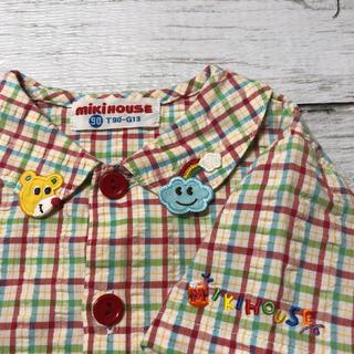 ミキハウス(mikihouse)の【お値下げ中】 ミキハウス 半袖 チェックシャツ  90(Tシャツ/カットソー)