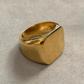 STAINLESS STEEL スクエア型カレッジリング ゴールド (リング(指輪))