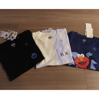 ユニクロ(UNIQLO)のお値下げ!3枚セット!ユニクロKAWSキッズコラボTシャツ110(Tシャツ/カットソー)