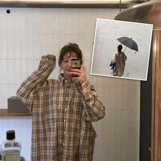 チェックシャツ ビッグシルエット 韓国 オーバーサイズ 長袖 トレンド