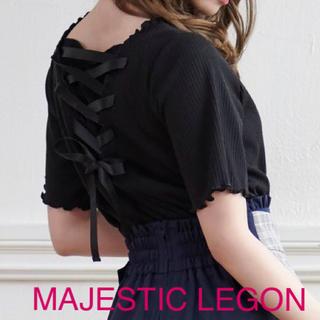 MAJESTIC LEGON - 新品【 マジェスティックレゴン 】フリル レースアップ カットソー ブラック