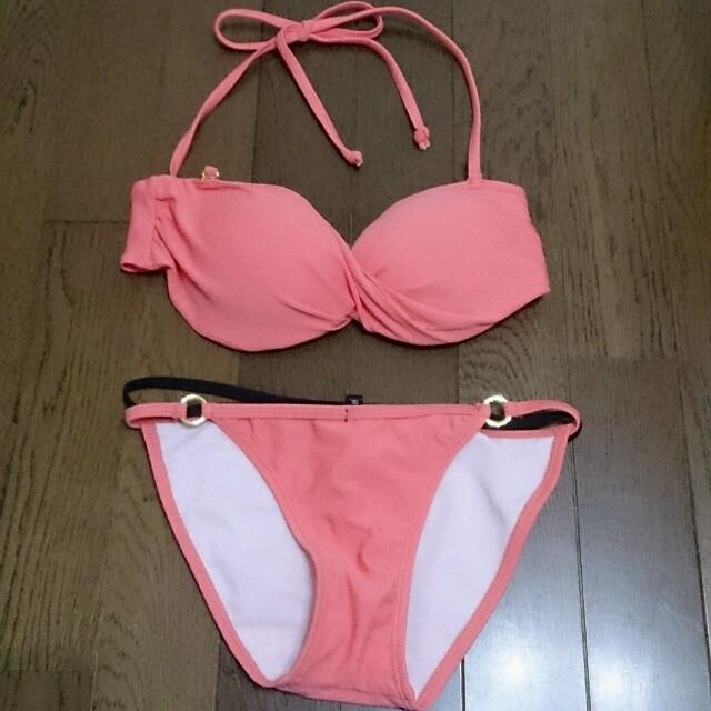 濃いサーモンピンク水着 レディースの水着/浴衣(水着)の商品写真