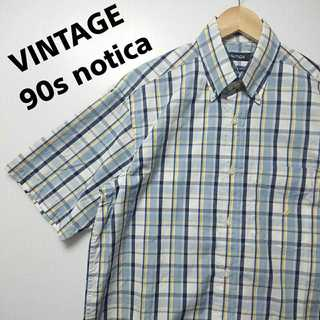 546 90s 未使用 notica 半袖 チェック シャツ BDシャツ(シャツ)