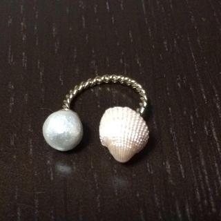 ハンドメイド コットンパール&シェル💍(リング(指輪))