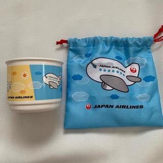 JAL(日本航空) - 現在入手困難★ギフト可 JAL コップ キッズ 水色 飛行機 日本航空 巾着付き