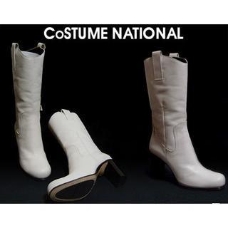 コスチュームナショナル(CoSTUME NATIONAL)のCoSTUME NATIONAL コスチュームナショナル レザーブーツ 白(レインブーツ/長靴)