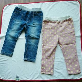 ユニクロ(UNIQLO)のデニム 90 パンツ ズボン 水玉 ピンク ベビー キッズ ベルメゾン ユニクロ(パンツ/スパッツ)
