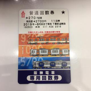 ハンシンタイガース(阪神タイガース)の阪神電車 普通 回数券 回数カード(鉄道乗車券)