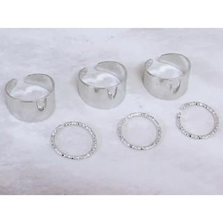 フリーサイズ 6連リング 指輪 6個セット シルバー(リング(指輪))