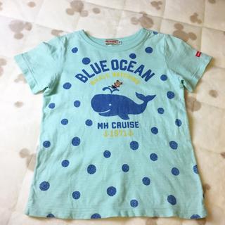 ミキハウス(mikihouse)のミキハウス ソーダTシャツ 水色 110 水玉 美品(Tシャツ/カットソー)