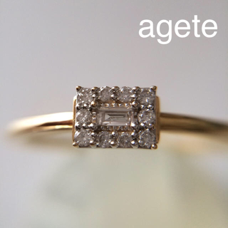 agete - agete K18 バゲットカットダイヤ リング アガット 指輪  #12