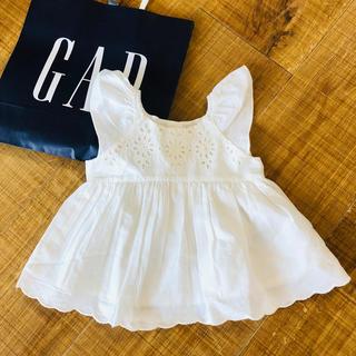babyGAP - 【タグ付き新品】babyGAP☆新作 80cm チュニック 白 スリーブ 半袖
