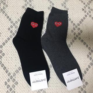 コムデギャルソン(COMME des GARCONS)のハート柄靴下 2足セット(ソックス)
