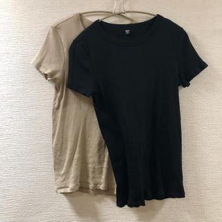 UNIQLO - リブ半袖Tシャツユニクロベージュ黒2点セットシンプル