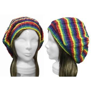 ハンドメイド◆タム風リブ付ベレー帽(ゆったり)◆ラスタカラー調ケーブルニット(ハンチング/ベレー帽)