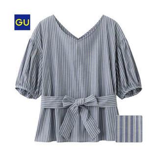 ジーユー(GU)のGU ボリュームスリーブウエストタイブラウス(シャツ/ブラウス(半袖/袖なし))
