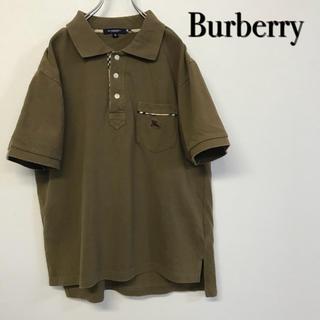 バーバリー(BURBERRY)の美品 Burberry 刺繍ロゴ ポロシャツ ブラウン×ノヴァチェック(ポロシャツ)