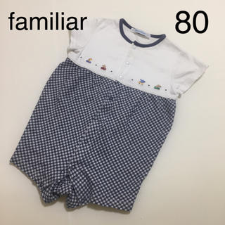 familiar - ファミリア familiar ロンパース 男の子 半袖 80 刺繍 ミキハウス