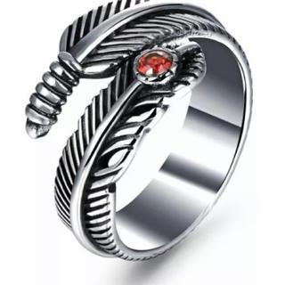 フェザー リング 指輪  羽根 イーグル サイズ調整可能 フリーサイズ(リング(指輪))