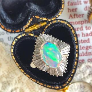 ウォーターオパール◇天然ダイヤモンドPM900ヴィンテージリング #10(リング(指輪))