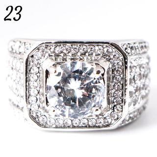 W2 リング 23号 人工石 ホワイトサファイア ラウンド 大きいサイズ(リング(指輪))