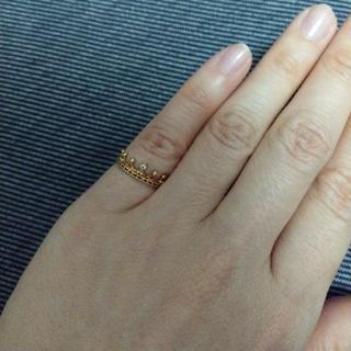 ノジェス(NOJESS)の月末値下げ♪美品☆NOJESSK10 YGダイヤモンドクラウンピンキーリング5号(リング(指輪))