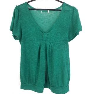 スタイルよく見えるトップス グリーン M(Tシャツ(半袖/袖なし))