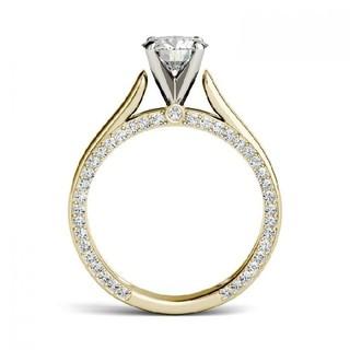 18金イエロー&ホワイトゴールド縦爪モアサナイトリング(リング(指輪))